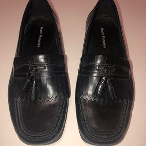 Hush Puppies Loafers Black Leather Mens 8W